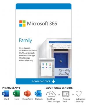Microsoft 365 Family (6 PCs or Mac Licença de 12-Meses/ Download)