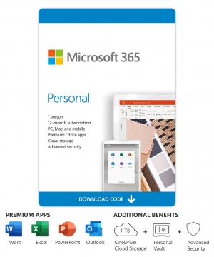 Microsoft Office 365 Personal – 1-Ano / 1-PC ou MAC + 1-Tablet