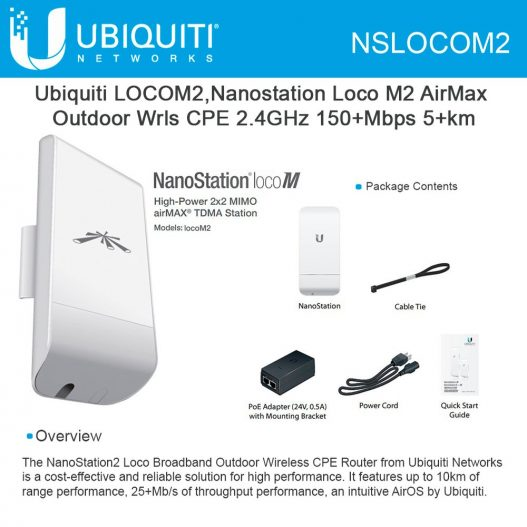 Ubiquiti NanoStation Loco M2 Indoor Outdoor airMAX CPE nampula silvermoz maputo
