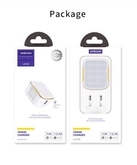 Charger carregador JOYROOM - L-A12S - 12W Single port travel charger (EU) nampula box