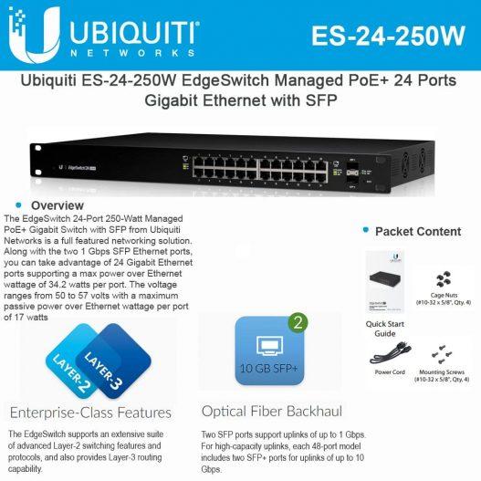 EdgeSwitch ES-24-250W 24-Port Managed PoE+ Gigabit Switch with SFP 250-Watt nampula mocambique mozzmbique maputo
